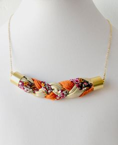 Braided ornament on a gold filled straps necklace by Bellalizd, $69.99