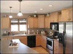 brick kitchen black appliances - Google Search