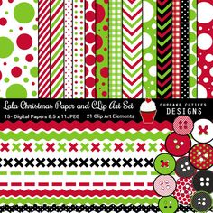 LaLa Christmas Digital paper and Clip art - great for craft and creative projects.