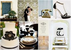Add the shimmer of gold to a black & white wedding palette.   #wedding #black #white #gold #inspiration