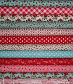 Annie's Farm Stand Lakehouse Red Aqua and Pink by sewdeerlyloved, $27.00