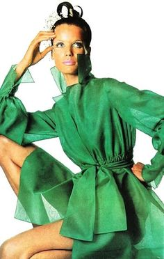 Vogue US April 1968 Veruschka photographed in cute little green summer dress