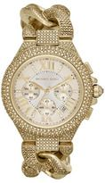Michael Kors-michael kors midsize golden stainless steel twisted camille threehand glitz watch