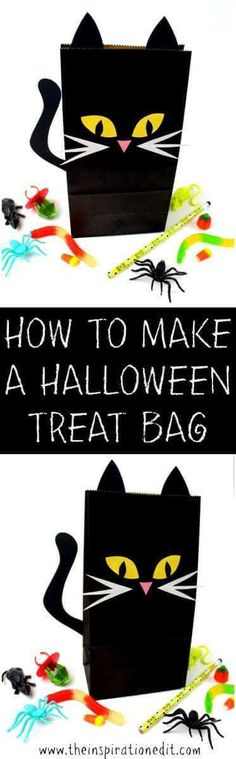 DIY HALLOWEEN BAG CAT THEMED - Must See Tutorial    #Cat #catcraft #halloween  #halloweencat #halloweenart  #funfoodideas #halloweentreatbag #getcrafty #craftforkids