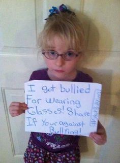From STOP Bullying project. Glasses are nothing to be bullied about. Stop bullying!
