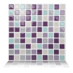 "Found it at Wayfair - 9.84"" x 9.84"" Peel and Stick Wall Tile in Violet Mint"