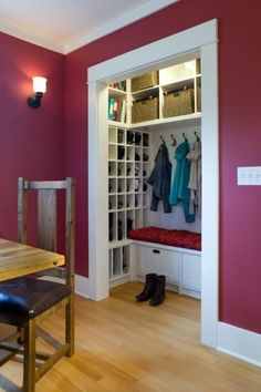 neat closet idea; i like the dead space being used up by the shoe nooks