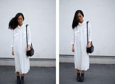 Shirtdress + high-vamp shoes