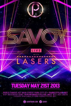 """Savoy with Lasers live at Park City Live, Tuesday May 21st!      For party bus reservations from Salt Lake City to Park City, call or text 435.689.1313    www.parkcitylive.net/ianh  promo code """"ianh"""""""
