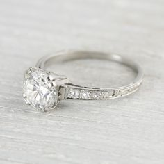 Gorgeous vintage 1920's ring with filigree on the side. 1.40 Carat Vintage Engagement Ring. Love it!