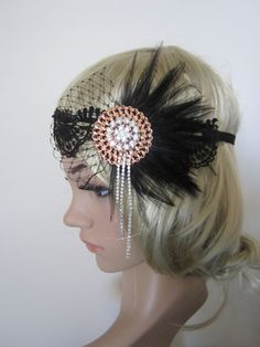 Items similar to Black feather inspired Art Deco flapper headpiece on Etsy Flapper Headpiece, Gatsby Headband, Flapper Costume, 1920s Outfits, Vintage Outfits, Flapper Style, 1920s Flapper, Art Nouveau, Diy Hair Accessories