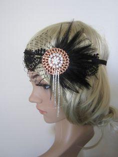 1920s inspired Art Deco  flapper headband.