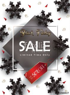 Vector: Black Friday Sale banners vector template, clip art, promo poster, advertising, sale discount voucher, hot sale gift card, hot deal price tag, snowflakes design, wallpaper.