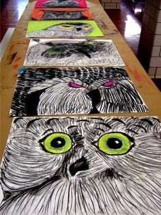 ... Owls, Owls1Art Dishes, Oil Pastel, Charcoal Kids Art, Art Project With