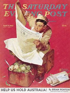 "Norman Rockwell, ""Willie Gillis: Hometown News,"" The Saturday Evening Post cover art, April Norman Rockwell Prints, Norman Rockwell Paintings, Caricatures, The Saturdays, Illustrations, Illustration Art, Munier, Saturday Evening Post, Artist Gallery"