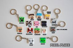 Keychains pack. Hama beads mini. Birthday gift by PixelPlace2014