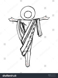 Hand drawn vector illustration or drawing of Jesus Christ Resurrection in a minimalist style