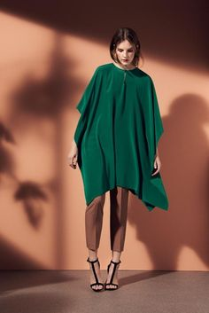 emerald green poncho with dressy pants