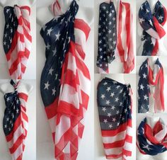 Women American Flag Pareo Dress Sarong Beach Bikini Swimwear Cover Up Scarf Wrap #Unbranded #CoverUppareosarongdresslongscarfwrap