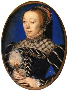 1555 Catherine de Medici attributed to Clouet                  Catherine de Medici wears a black and white dress and a pink and black French hood in this Clouet portrait.     She was fond of pearl-reticulated partlets.     This is another example of a double neckline.