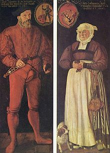 1564 Swiss (Basel): Portraits of the Zurich pannery Jacob Schwytzer and his wife Elsbeth Lochmann by Tobias Stimmer (Basel Kunstmuseum) Die Renaissance, Renaissance Costume, Renaissance Clothing, Elizabethan Costume, Elizabethan Fashion, Medieval Fashion, Medieval Art, Historical Art, Historical Clothing