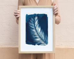 Cyanotype Print, Palm Tree Leaf Art on Watercolor Paper. Original cyanotype print, handmade and printed in the Barcelona sun! It is an image of a palm leaf, and can be framed horizontally of vertically. It is an original cyanotype print, made on heavy and very resistant watercolor paper, in A4 (about 8.2in x 11.7in) size. The cyanotype process is one of the oldest in the history of photography, and during this digital revolution that we are experiencing, we feel the need to look back at a...
