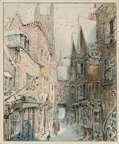 toon-books: Incredible city scene by Beatrix Potter (English author, illustrator, natural scientist and conservationist; Beatrix Potter Illustrations, Beatrice Potter, Peter Rabbit And Friends, City Scene, Pen And Watercolor, Gloucester, Art Graphique, Children's Book Illustration, Book Illustrations