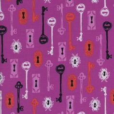 Cotton and Steel House Designer - Boo - Skeleton Keys in Grape. This would be adorable for a coraline or alice in wonderland quilt.
