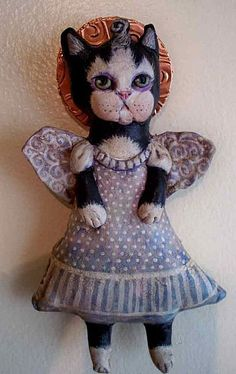 Guardian angel of naughty kitties by Catherine Hostetter