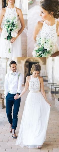 High Neck White Lace Long Sheath Simple Design White Lace Wedding Party Dresses, WD0089