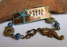 "Hand Stamped Metal Bracelet ""Beach Girl"",Starfish Jewelry,Seahorse Charms,Beach Jewelry"