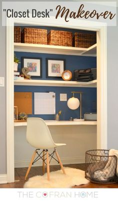 closet desk makeover, closet, home office, painting, storage ideas Home Office Closet, Closet Desk, Office Nook, Guest Room Office, Home Office Space, Small Office, Home Office Design, Home Office Decor, House Design