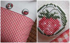 Cross stitch strawberry button