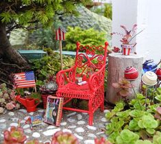 Miniature garden pictures from all over the world. From our miniature garden contests, customer submissions and more. Get inspired! Mini Fairy Garden, Blue Garden, Fairy Gardening, Little Gardens, Mini Gardens, Independence Day Theme, Create A Fairy, Miniature Fairy Gardens, Miniature Dollhouse