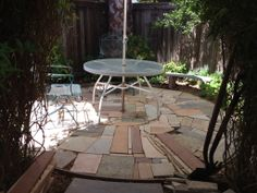 patio made with granite scraps...free!   yard ideas   pinterest ... - Permeable Patio Ideas