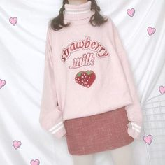 100% Strawberry Milk High Neck Sweater – Peiliee Shop