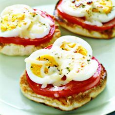 English-Muffin Egg Pizzas + 8 Excellent Recipes for Hard-Boiled Eggs | health.com