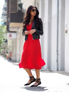 red dress with lace-up flats