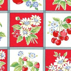 Orchard Kitchen Red fabric by lecien