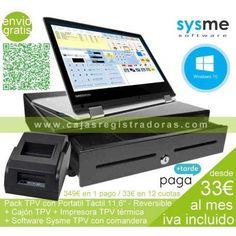 Pack TPV Táctil de 11,6 con windows 10 + Cajon TPV + Impresora TPV y Software Sysme TPV con licencia todo por menos de 350€ IVA incluido #TPV #cajaregistradora #cajontpv #terminalpuntoventa #packtpv