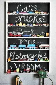 Another cool way to store toys or cars. Shelf with chalkboard paint back