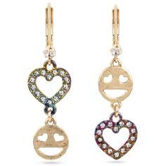 Betsey Johnson  Gold-Tone East Harlem Shuffle Emoji Drop Earrings ($28) ❤ liked on Polyvore featuring jewelry, earrings, crystal, drop earrings, glitter earrings, gold colored earrings, glitter jewelry and betsey johnson jewellery