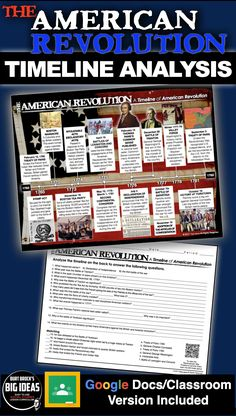 American Revolution Timeline takes your students to America's Birth from 1763 to 1783. Students analyze the timeline and complete a twenty question common core aligned worksheet. This assesses students on the history of the American Revolution as well as timeline analysis. An optional QR coded timeline is also included for more student engagement. It can be used in class or as homework as it's a completely stand alone assignment. #HistoryLessonPlans #SocialStudies #USHistoryLessonPlans Teaching American History, American History Lessons, Teaching History, American Revolution Timeline, History Lesson Plans, American Revolutionary War, Teaching Social Studies, Student Engagement, Revolutionaries