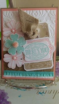 Stampin' Up Chalk Talk stamp set and Framelits, Flower Shop stamp set with matching Pansy Punch, Beautifully Baroque TIEF, Ruffle Edge Trim, 2013-14 retired In colors, pearls, burlap ribbon Cased from Kerry Timms