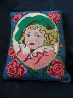 Antique Victorian Georgian Counted Cross Stitch Pillow Girl with Hat Floral