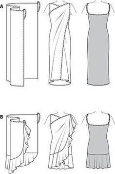 Burda Style Beach Dress Hard to believe: a rectangular piece of fabric with side buckles turns into a fancy, backless sun wrap. Variant B with added flounce gives special swing. could use this pattern for wrap around towel. Diy Clothing, Sewing Clothes, Clothing Patterns, Dress Patterns, Sewing Patterns, Dress Sewing, Sewing Hacks, Sewing Tutorials, Robe Diy