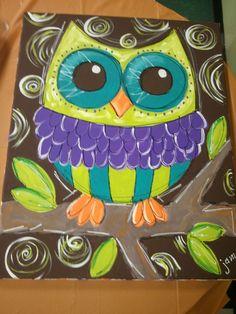 Owls...so cute...We could simplify for K! by bertie #owlcanvaspainting