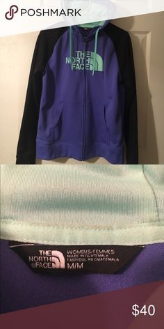 Full Zip Women's North Face Fleece lined hoodie Purple, teal, and black full zip hoodie. North Face. Worn a handful of times. Like new. North Face Tops Sweatshirts & Hoodies