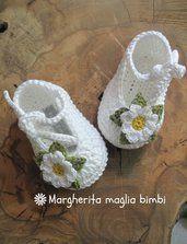 Scarpine neonata - uncinetto - puro cotone bianco con margherita - ballerine primavera - Battesimo