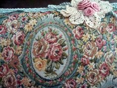 Vintage Tapestry Pillow Floral Roses Shabby Chic Cottage Style